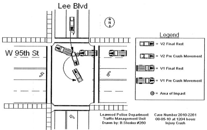 Diagram of Leawood, KS car wreck involving texting teenager